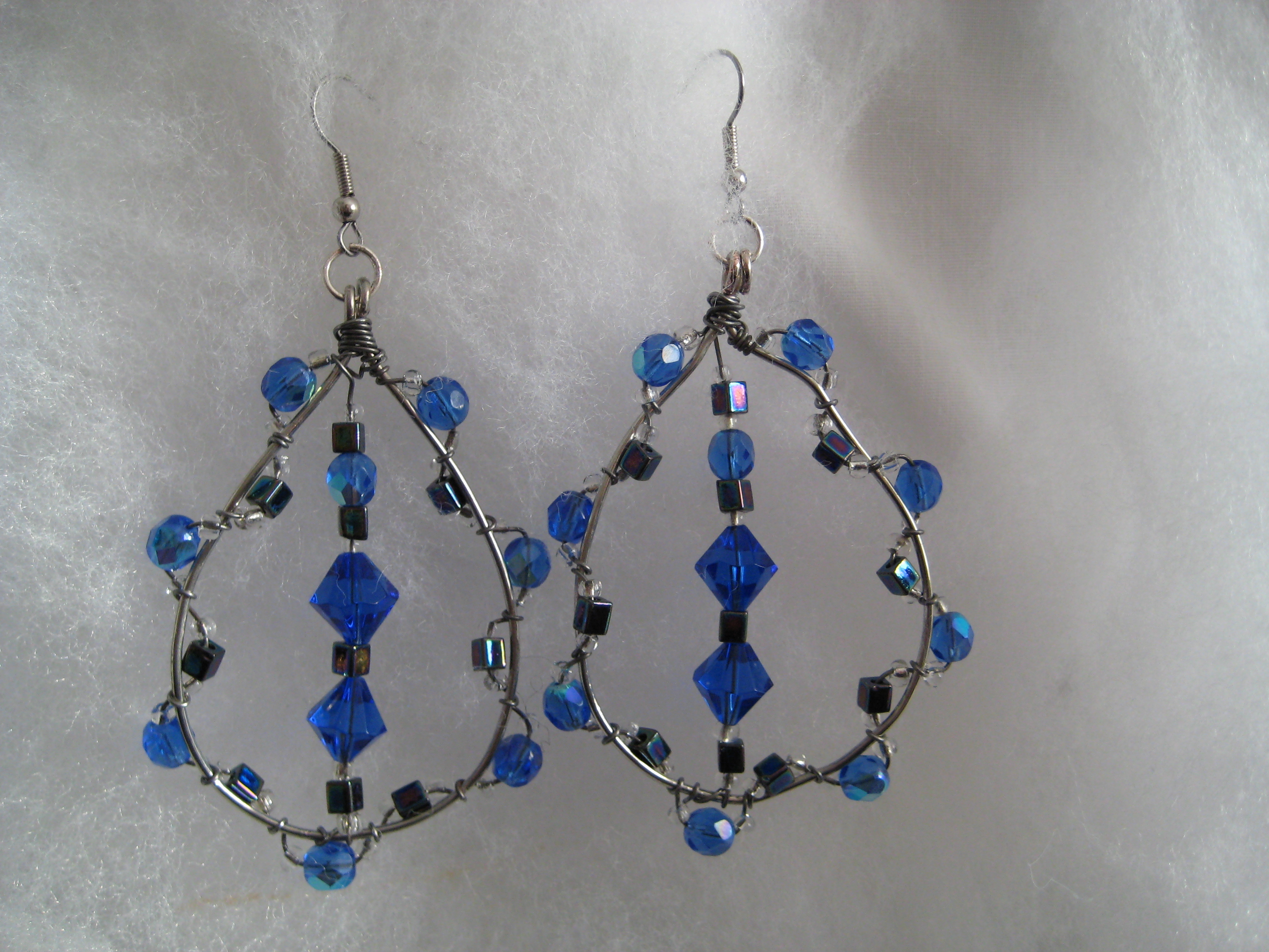 ice blue crystal earrings made for my sister